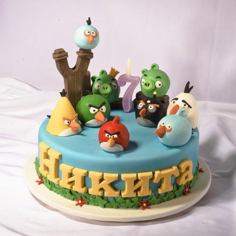 прикольный торт angry birds