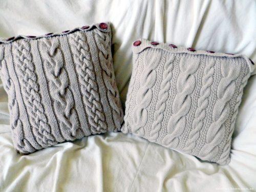Вязаная наволочка для подушки