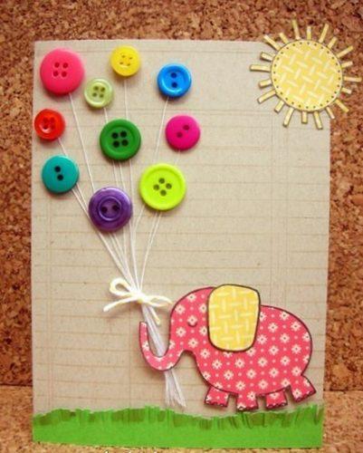 открытка с яркими пуговицами