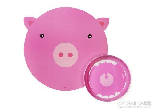"""Коврик и миска """"Голодная свинка"""""""